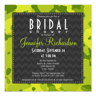 Acid Green Camo; Bridal Shower 5.25x5.25 Square Paper Invitation Card