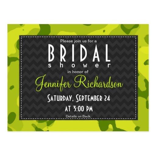 Acid Green Camo; Bridal Shower Post Card