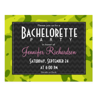Acid Green Camo; Camouflage Bachelorette Party Postcard