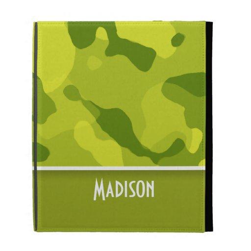 Acid Green Camo; Camouflage; Personalized iPad Folio Case