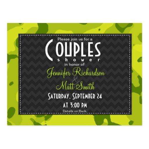 Acid Green Camo; Couples Shower Invitation Postcards
