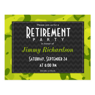 Acid Green Camo; Retirement Party Invite Postcard