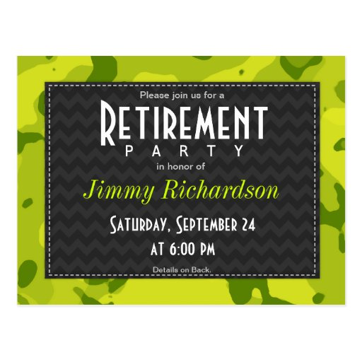 Acid Green Camo; Retirement Party Invite Post Cards