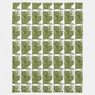 Acid Green Gerbera Daisy Flower Bouquet Fleece Blanket