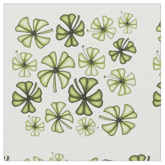 Acid Green Lucky Shamrock Clover Fabric