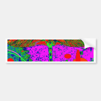 Acid Green & Purple Goth  Dragonfly by Sharles Bumper Sticker