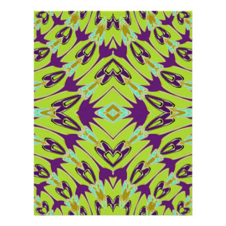 Acid Green Violet Abstract Flower Pattern Personalized Flyer