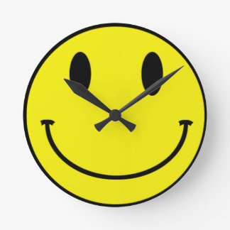 Acid Smiley Face Round Clock