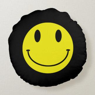 Acid Smiley Yellow Black Round Cushion