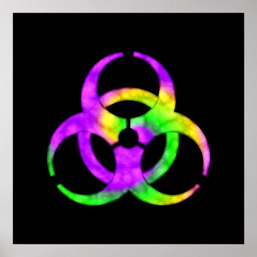 Acid Spiral Biohazard Symbol Poster