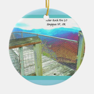 Acker Rock Fire Lookout Umpqua National Forest, OR Round Ceramic Decoration