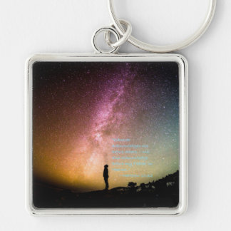 """""""Acknowledge Me"""" Silver-Colored Square Key Ring"""
