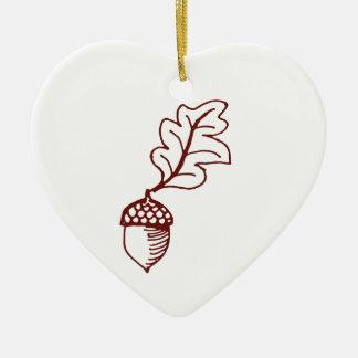 Acorn Double-Sided Heart Ceramic Christmas Ornament