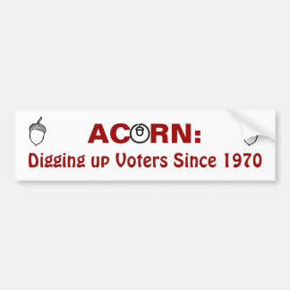 Acorn Digging up Voters Since 1970 Bumper Stickers