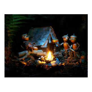 Acorn elf around the campfire postcard