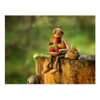 Acorn elf in the wood postcard