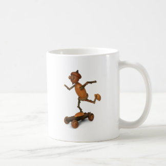 Acorn elf on a skateboard coffee mug