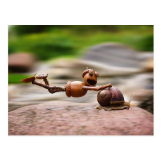 Acorn elf riding on the snail postcard