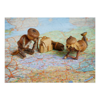 Acorn elves on the map poster