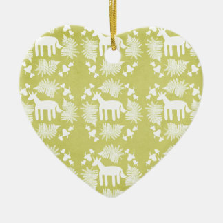 Acorn Fern Unicorn Ceramic Heart Decoration