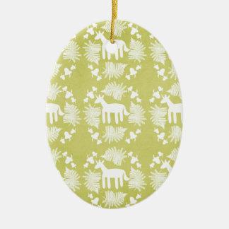 Acorn Fern Unicorn Ceramic Oval Decoration