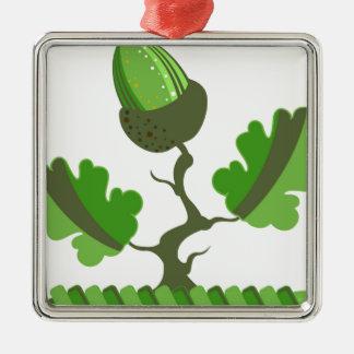 Acorn Green vector Silver-Colored Square Decoration