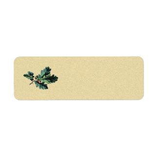 acorn oak vintage return address label