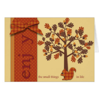 Acorn Tree with Squirrel for Thanksgiving Greeting Card