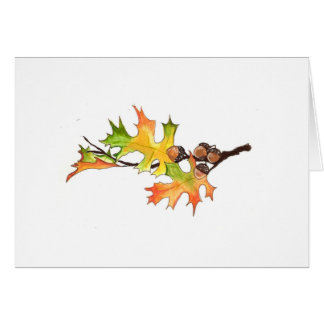 acorns and autumn leaves note card