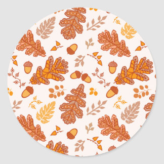 Acorns and Fall Leaves Classic Round Sticker