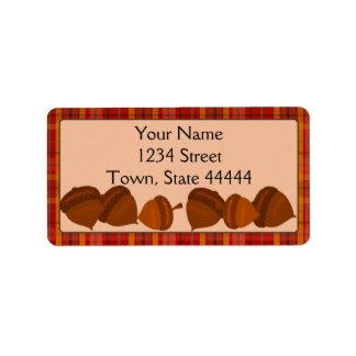 Acorns and Plaid, Thanksgivng Address Labels