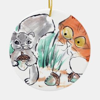 Acorns, Squirrel and a Curious Tiger Kitten Round Ceramic Decoration