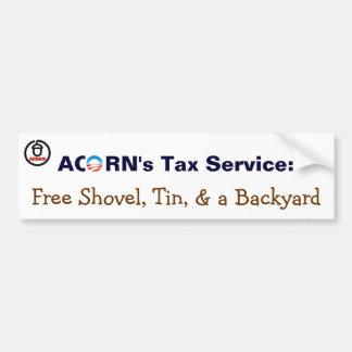 Acorn's Tax Service: Free Shovel, Tin, Backyard Bumper Sticker