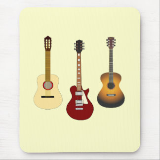 Acoustic and Electric Guitars Musican or Guitarist Mouse Mat
