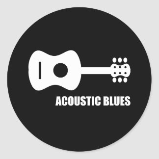 Acoustic Blues Round Stickers