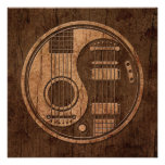 Acoustic Electric Guitars Yin Yang Wood Effect Personalized Invitations