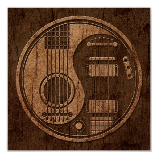 Acoustic Electric Guitars Yin Yang Wood Effect Poster