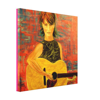 acoustic folksinger girl canvas print