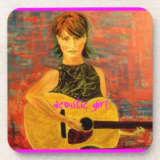 acoustic girl art beverage coasters