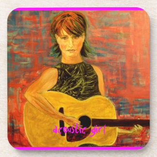 acoustic girl art drink coasters