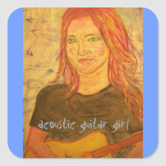 acoustic girl art square stickers