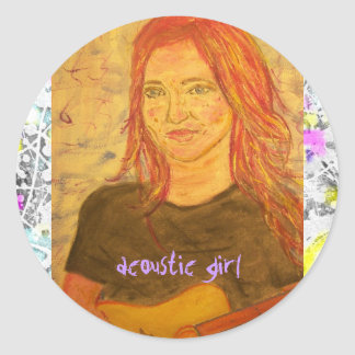 acoustic girl drip painting round sticker