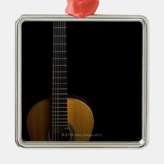 Acoustic Guitar 2 Silver-Colored Square Decoration