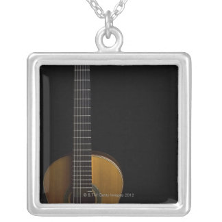 Acoustic Guitar 2 Silver Plated Necklace
