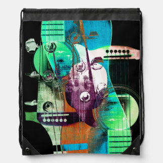 Acoustic guitar abstract collage drawstring bag