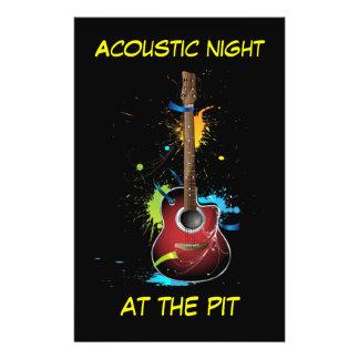 Acoustic guitar art flyers