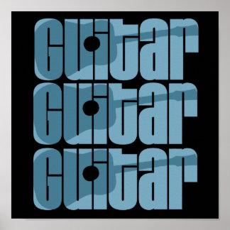 Acoustic Guitar Blue Poster