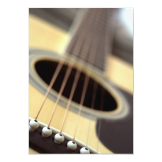 Acoustic guitar closeup photo 13 cm x 18 cm invitation card