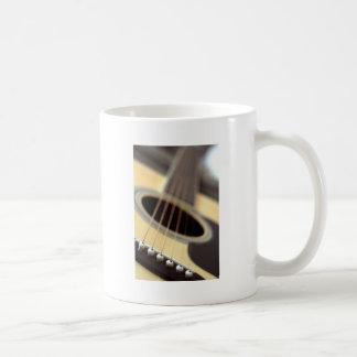 Acoustic guitar closeup photo basic white mug