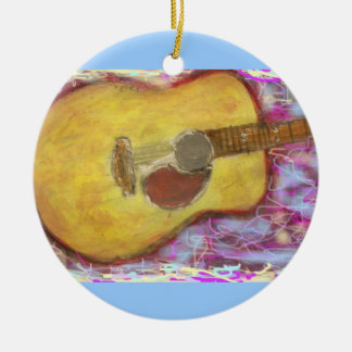 Acoustic Guitar Colours Double-Sided Ceramic Round Christmas Ornament